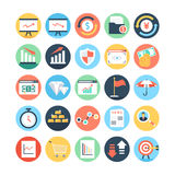 Markt en Economie Gekleurde Vectorpictogrammen 4 Stock Foto