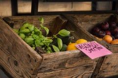 Markt, handel in verse producten voor smoothies Houten doos met basilicum, citroenen, komkommers, pruimen stock afbeeldingen