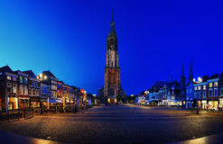 Markt (Market) in Delft by Night Royalty Free Stock Images