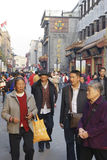 Markt Pekings Dazhalan, berühmte Wangfujing-Snackstraße Lizenzfreie Stockbilder
