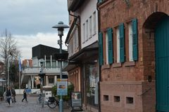 Markt platz, αρχιτεκτονική αγορών κεντρικός σε Dieburg ένα παλαιό ιστορικό κτήριο κοντά στο Castle Fechenbach σε Dieburg, Γερμανί στοκ εικόνα με δικαίωμα ελεύθερης χρήσης