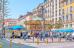 Markt in Quadrat General-de Gaulle Lizenzfreies Stockbild