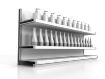 Markt-Shop-Regale mit Kosmetik-Flaschen und Rohren Stockbilder