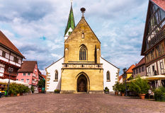 Markt in Slechte Saulgau met St John Baptist Church, Duitsland Stock Foto