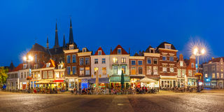 Markt square at night in Delft, Netherlands Royalty Free Stock Photos