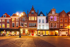 Markt square at night in Delft, Netherlands Stock Photos