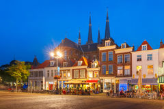 Markt square at night in Delft, Netherlands Stock Photography