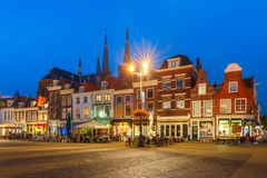 Markt square at night in Delft, Netherlands Royalty Free Stock Image