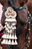 Markt van Sevilla Dichte omhooggaand van het paard Paarddecoratie Royalty-vrije Stock Foto