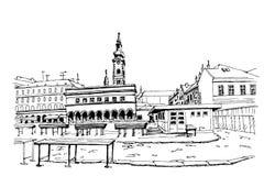 Markt in Zagreb, Kroatien vektor abbildung