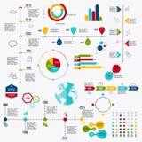 Marktelemente der kommerziellen Daten punktieren Stangenkreisdiagrammdiagramme und GR stock abbildung