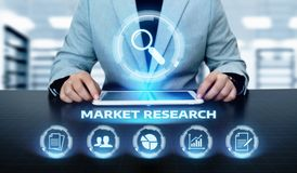 Marktforschungs-Marketingstrategie-Geschäfts-Technologie-Internet-Konzept stockfoto