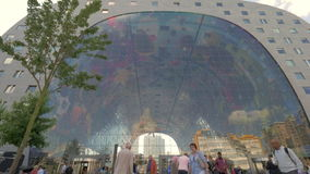 Markthal building and people at the entrance, Rotterdam stock video