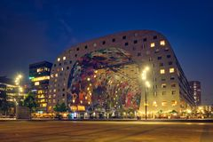 Markthal  Market Hall  building with a market hall underneath in Rotterdam, Netherlands royalty free stock photography