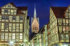 Marktkirche和汉诺威半木料半灰泥的房子  免版税库存图片