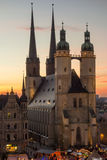 Marktkirche in Halle (Saale) at sunset during christmas time Stock Images