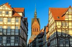 Marktkirche och gammal stad av Hannover, Tyskland arkivbild