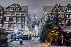 Marktkirche och gammal stad av Hannover, Tyskland i vintern arkivbild