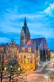 Marktkirche and Old City Hall in Hannover stock photo