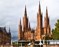 Marktkirche  Wiesbaden. Marktkirche of red brick on a Schlossplatz, Wiesbaden Stock Image