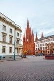 Marktkirche a Wiesbaden con il Parlamento del Hesse, Germania Fotografie Stock