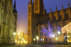 Marktkirche in Wiesbaden at dusk. Marktkirche in Wiesbaden in Germany on a beautiful evening royalty free stock photos