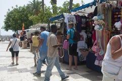 Marktkramen in Torrevieja, Spanje Stock Foto