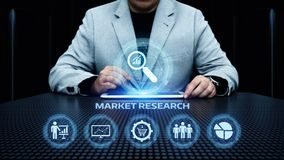 Marktonderzoek Marketing het concept Strategie van Bedrijfstechnologieinternet stock afbeeldingen