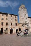 Marktplatz della Lymphraumquadrat, San Gimignano, Toskana, Italien Stockfotos