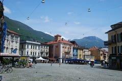 Marktplatz groß in Locarno Stockfotografie