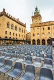 Marktplatz Maggiore mit Accursio Palace und Palazzo Del Podesta Stockbild