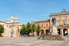 Marktplatz Marconi in Santarcangelo di Romagna, Italien Stockbild