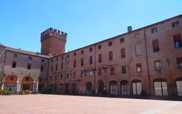 Marktplatz Municipio, Ferrara, Italien Lizenzfreies Stockfoto