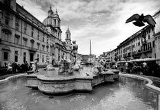Marktplatz Navona mit dem Fontana-del Moro Rome, Italien Lizenzfreies Stockbild
