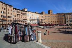 Marktplatz Piazza Del Campo in Siena, Italien Stockfotografie
