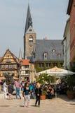 Marktplatz in Quedlinburg, Deutschland Stockfotos