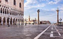 Marktplatz San Marco am Sonnenaufgang Lizenzfreies Stockfoto