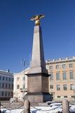 Marktplatz und strenger Obelisk von Kaiserin, 1835 Helsinki, Finnland lizenzfreies stockbild
