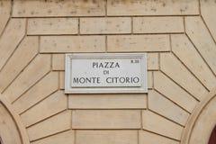 Marktplatzdi Monte Citorio-Straßenplatte, Rom, Italien lizenzfreies stockfoto