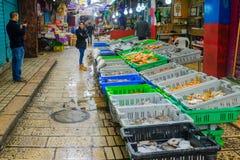 Marktscène in de oude stad, Acre Stock Foto