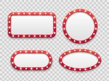 Markttent lichte kaders Uitstekende ronde en rechthoekige bioskoop en casino lege rode tekens met bollen Vector geïsoleerde reeks stock illustratie