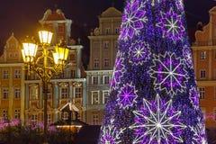 Marktvierkant bij Kerstmisnacht, Wroclaw, Polen Stock Foto