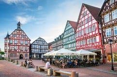 Marktvierkant Grunberg, Hesse, Duitsland Stock Fotografie