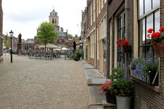 Marktvierkant van Delft, Nederland Stock Foto
