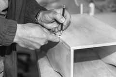 Markup in carpentry. With selective focus on pencil, black-and-white photo image Royalty Free Stock Photography