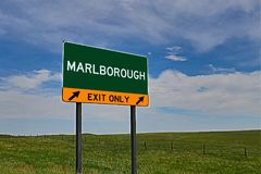 US Highway Exit Sign for Marlborough. Marlborough `EXIT ONLY` US Highway / Interstate / Motorway Sign stock images