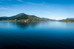 Marlborough Sounds seen from ferry from Wellington to Picton, New Zealand Royalty Free Stock Photography