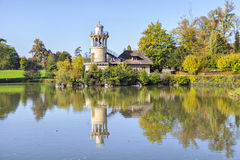 The Marlborough Tower reflecting in pond in Marie-Antoinette's e Stock Photo