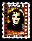 Marlene Dietrich 1901-1992, American Cinema serie, circa 2001. MOSCOW, RUSSIA - NOVEMBER 24, 2017: A stamp printed in Cambodia shows Marlene Dietrich 1901-1992 royalty free stock photo