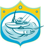 Marlin Charter Fishing Boat Retro blu Fotografie Stock Libere da Diritti